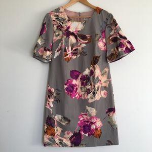 Trina Turk Sz 10 Gray Fuchsia Floral Gray Dress